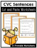 CVC Words Cut and Paste. Simple Sentences. Read & Cut. Kindergarten. Worksheets.