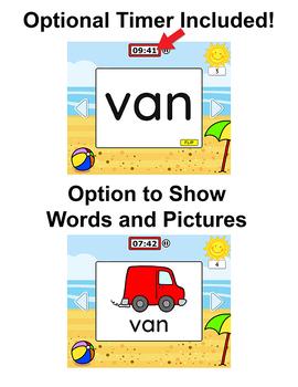 CVC Words Digital Flash Cards for SmartBoards, Tablets & Computers - Summer
