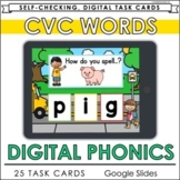 CVC Words Distance Learning Literacy Task Cards