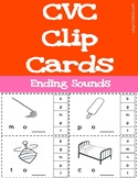 CVC Words - Ending Sounds Clip Cards - includes 29 word families