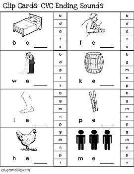 CVC Words - Ending Sounds Clip Cards - includes 29 word families