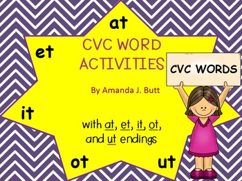CVC Words; Families at, et, it, ot, ut; Kindergarten; First; Special Ed. Autism