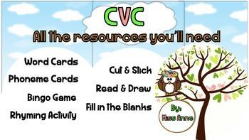 CVC Words - Flashcards, Activities & Worksheet