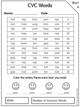 CVC Words Fluency Practice and Assessment