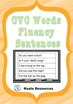CVC Words Fluency Sentences Reading Practice Strips