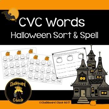 cvc words halloween sort and spell