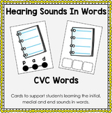 CVC Words - Hearing Sounds In Words Task Cards