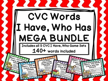 CVC Words I Have, Who Has MEGA BUNDLE (159 pages, 140+ words)