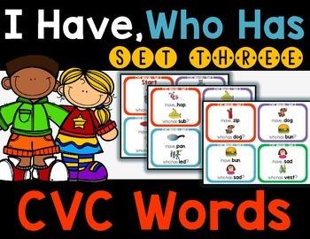 CVC Words - I Have, Who Has Set 3