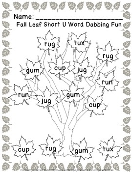 CVC Words In The Leaves!  ~Fall Word Work Center Using Dot Painters! ~CC Aligned
