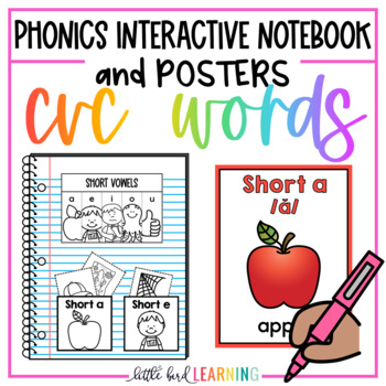 CVC Words Interactive Notebook Activities and Posters