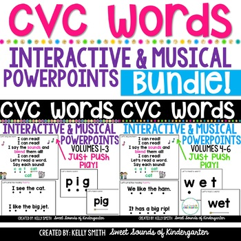 CVC Words Interactive Powerpoints & Printables {BUNDLE} Volumes 1-6
