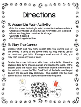 CVC Words - It's a Goal! Soccer Themed Activity