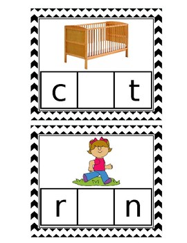 Middle Sound Cards with Letters Cards for Kindergarten: