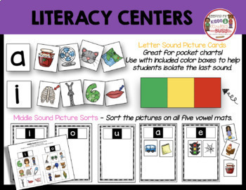 CVC Words - Middle Sounds - Medial Vowels - Phonics Worksheets Literacy Centers