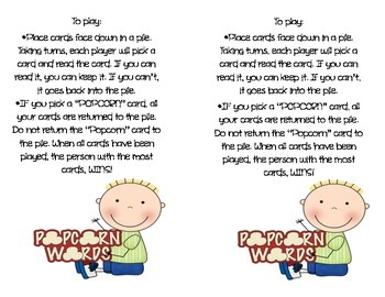 Sight Words ~ POPCORN! Set A