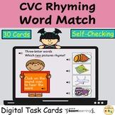 CVC Rhyming Words Match BOOM Cards™ Digital Task Cards Dis