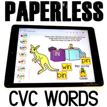 Google Classroom™ Activities Reading CVC words (boxes)