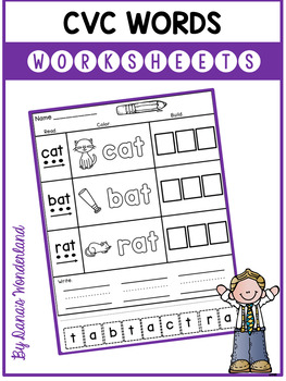 cvc words kindergarten worksheets by dana 39 s wonderland tpt. Black Bedroom Furniture Sets. Home Design Ideas