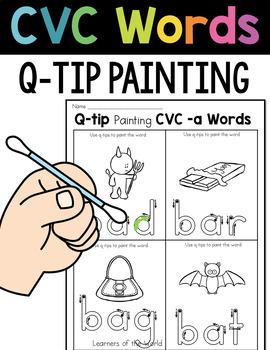 CVC Words Q-Tip Painting (Short Vowel Words)