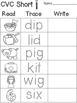 CVC Words Read, Trace, Write practice pages