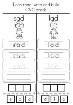 CVC Words - Read, Write, Colour and Build Worksheets