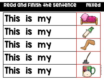CVC Words - Read and Finish Sentences - Mixed Vowels Set 1