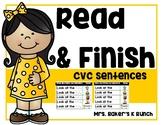 CVC Words - Read and Finish Sentences - Mixed Vowels Set 1