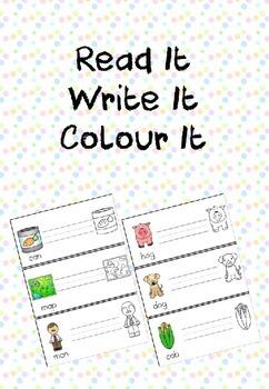 CVC Words - Read it, Write it, Colour it