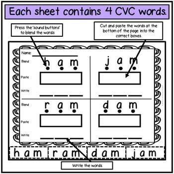 CVC Words Reading and Writing Activity
