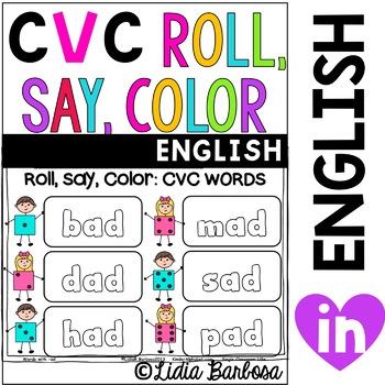 CVC Words Roll, Say, Color Gametivity