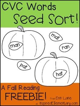 CVC Words Seed Sort FREEBIE!
