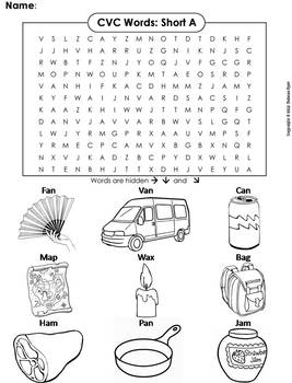 CVC Words: Short A Worksheet/ Word Search