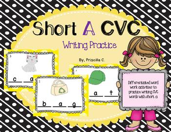 CVC Words Short A Writing Cards