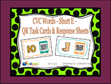 CVC Words - Short E - QR Code Task Cards & Response Sheets
