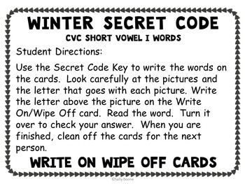 CVC Words Short I-Teaching Resource with Worksheets Secret Code