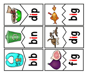 CVC Words:  Short I Two Piece Puzzles