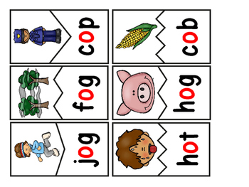 CVC Words:  Short O Two Piece Puzzles