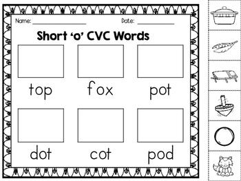 CVC Words:  Short O Word Mats