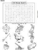 CVC Words: Short O Worksheet/ Word Search