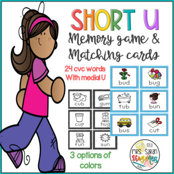 Short U CVC words Memory Game and Matching cards