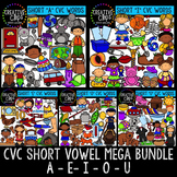 CVC Words - Short Vowel Mega Bundle {Creative Clips Digital Clipart}