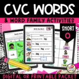 Kindergarten CVC Words Worksheets for Short Vowel O on Goo