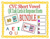 CVC Words Short Vowel QR Code Task Cards & Response Sheets BUNDLE