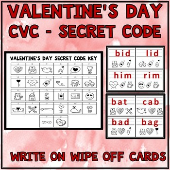 Valentine's Day Activities CVC Words Short Vowels Write On Wipe Off Cards