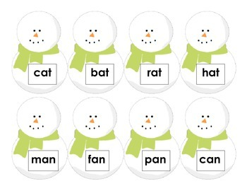 CVC Words: Snowman Hat Match