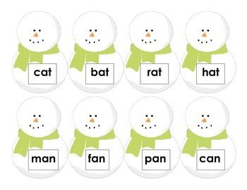 CVC Words: Snowman Hat Match
