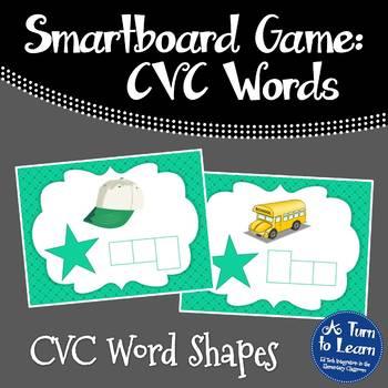 CVC Words: Spelling CVC Word Shapes Game (Smartboard/Promethean Board)