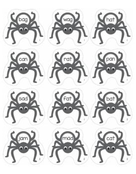 CVC Words - Spider Themed File Folder Activities