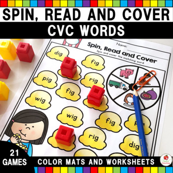 CVC Words Spin, Read and Cover